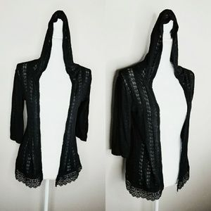 Maurices Black Hood Cardigan Sweater Crochet Lace